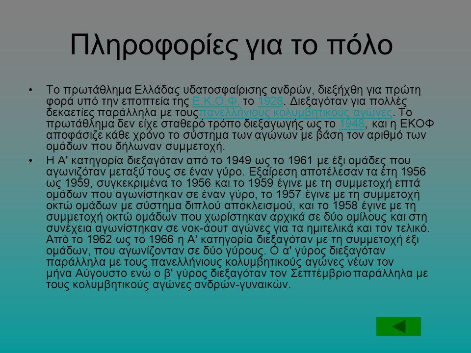 Πληροφορίες για το πόλο Το πρωτάθλημα Ελλάδας υδατοσφαίρισης ανδρών, διεξήχθη για πρώτη φορά υπό την εποπτεία της Ε.Κ.Ο.Φ.