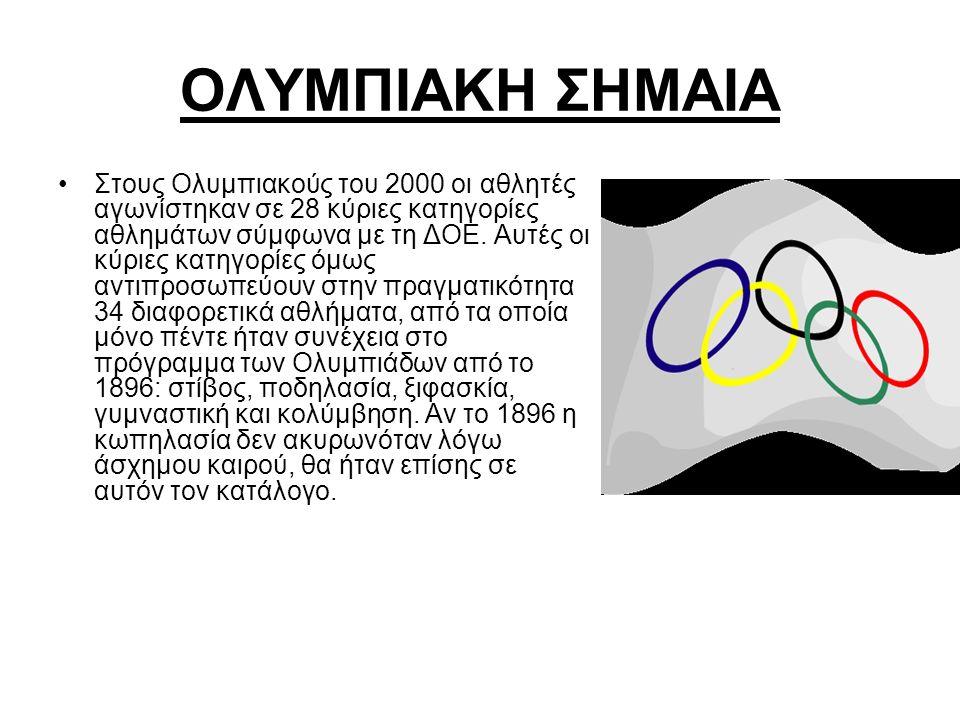 ΟΛΥΜΠΙΑΚΗ ΣΗΜΑΙΑ Στους Ολυμπιακούς του 2000 οι αθλητές αγωνίστηκαν σε 28 κύριες κατηγορίες αθλημάτων σύμφωνα με τη ΔΟΕ. Αυτές οι κύριες κατηγορίες όμω