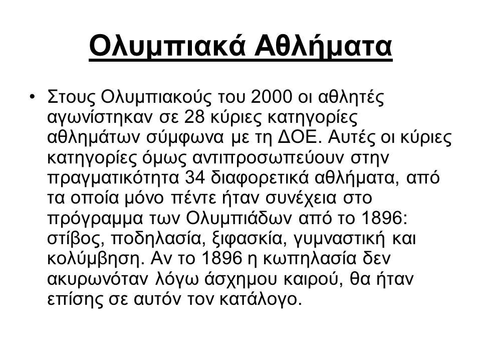 Ολυμπιακά Αθλήματα Στους Ολυμπιακούς του 2000 οι αθλητές αγωνίστηκαν σε 28 κύριες κατηγορίες αθλημάτων σύμφωνα με τη ΔΟΕ. Αυτές οι κύριες κατηγορίες ό