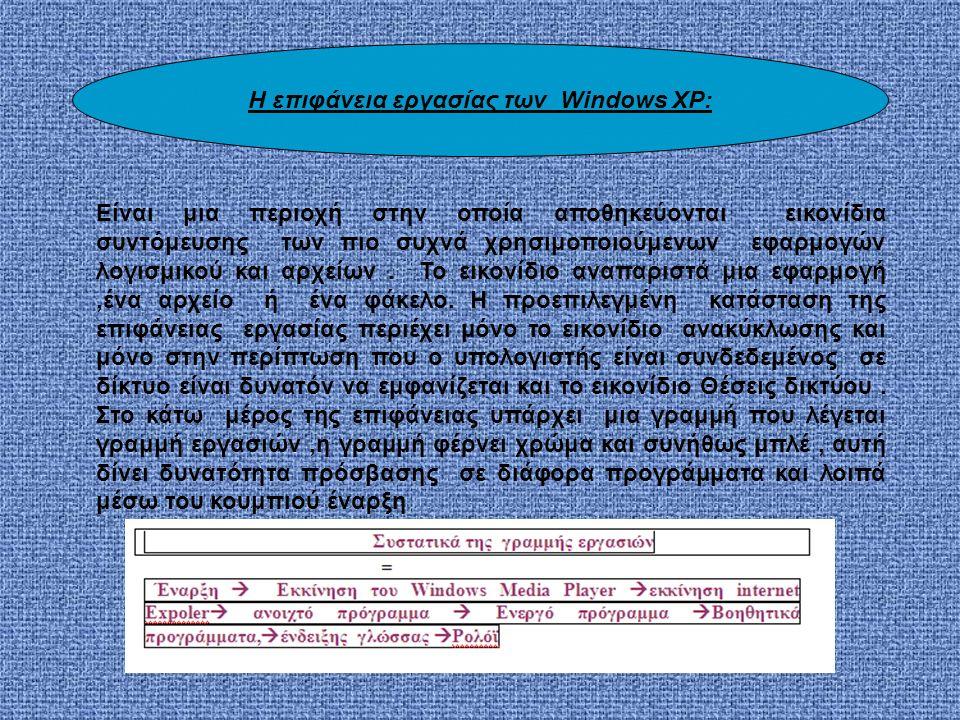 H επιφάνεια εργασίας των Windows XP: Είναι μια περιοχή στην οποία αποθηκεύονται εικονίδια συντόμευσης των πιο συχνά χρησιμοποιούμενων εφαρμογών λογισμικού και αρχείων.