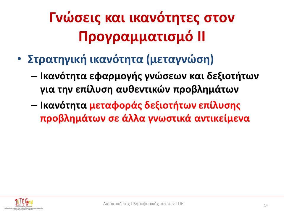 Διδακτική της Πληροφορικής και των ΤΠΕ 14 Γνώσεις και ικανότητες στον Προγραμματισμό ΙΙ Στρατηγική ικανότητα (μεταγνώση) – Ικανότητα εφαρμογής γνώσεων και δεξιοτήτων για την επίλυση αυθεντικών προβλημάτων – Ικανότητα μεταφοράς δεξιοτήτων επίλυσης προβλημάτων σε άλλα γνωστικά αντικείμενα