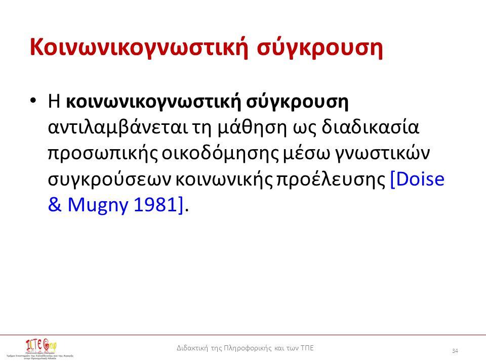 Διδακτική της Πληροφορικής και των ΤΠΕ 34 Κοινωνικογνωστική σύγκρουση Η κοινωνικογνωστική σύγκρουση αντιλαμβάνεται τη μάθηση ως διαδικασία προσωπικής οικοδόμησης μέσω γνωστικών συγκρούσεων κοινωνικής προέλευσης [Doise & Mugny 1981].