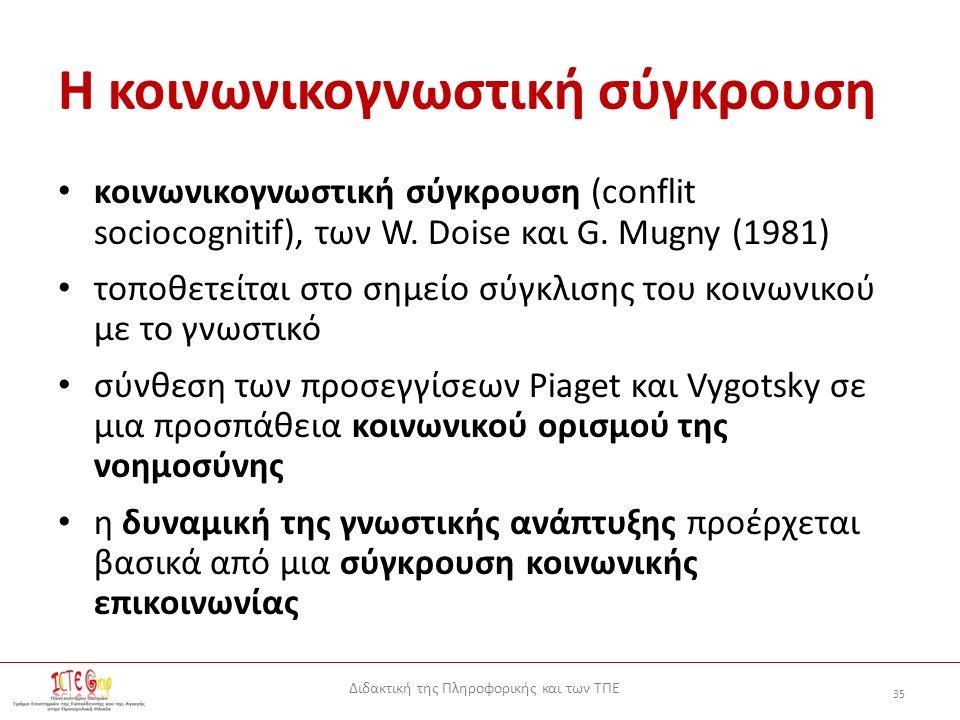 Διδακτική της Πληροφορικής και των ΤΠΕ 35 Η κοινωνικογνωστική σύγκρουση κοινωνικογνωστική σύγκρουση (conflit sociocognitif), των W.