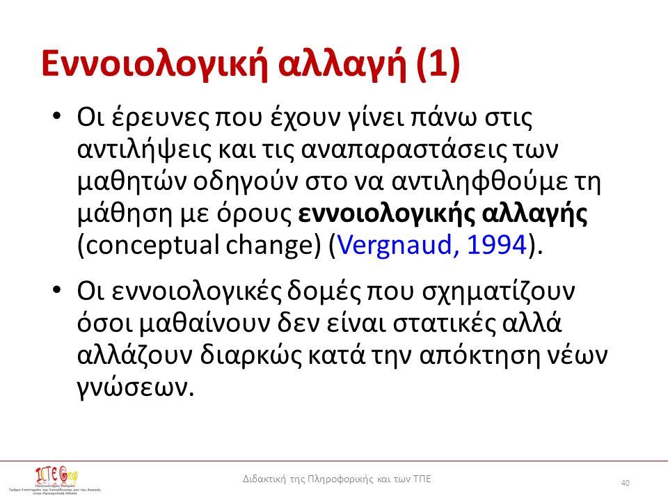 Διδακτική της Πληροφορικής και των ΤΠΕ 40 Εννοιολογική αλλαγή (1) Οι έρευνες που έχουν γίνει πάνω στις αντιλήψεις και τις αναπαραστάσεις των μαθητών οδηγούν στο να αντιληφθούμε τη μάθηση με όρους εννοιολογικής αλλαγής (conceptual change) (Vergnaud, 1994).