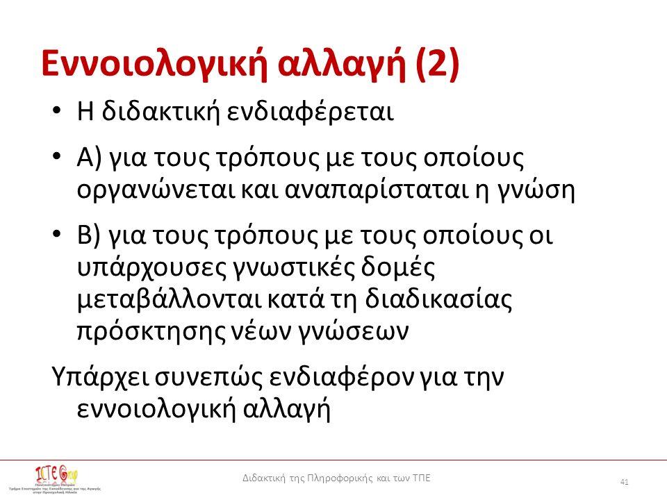 Διδακτική της Πληροφορικής και των ΤΠΕ 41 Εννοιολογική αλλαγή (2) Η διδακτική ενδιαφέρεται Α) για τους τρόπους με τους οποίους οργανώνεται και αναπαρίσταται η γνώση Β) για τους τρόπους με τους οποίους οι υπάρχουσες γνωστικές δομές μεταβάλλονται κατά τη διαδικασίας πρόσκτησης νέων γνώσεων Υπάρχει συνεπώς ενδιαφέρον για την εννοιολογική αλλαγή