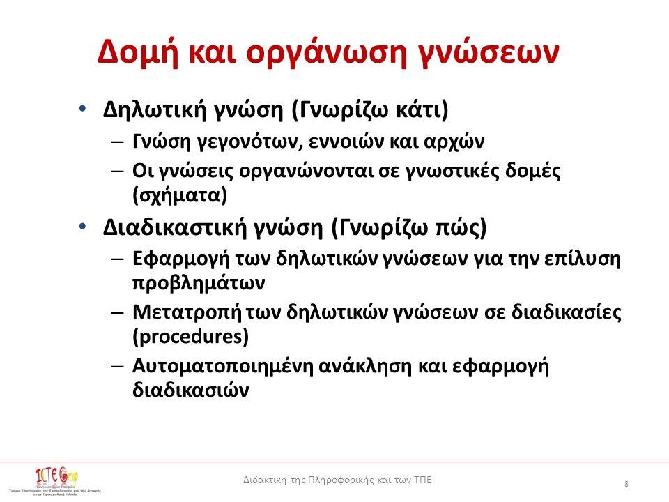 Διδακτική της Πληροφορικής και των ΤΠΕ 8 Δομή και οργάνωση γνώσεων Δηλωτική γνώση (Γνωρίζω κάτι) – Γνώση γεγονότων, εννοιών και αρχών – Οι γνώσεις οργανώνονται σε γνωστικές δομές (σχήματα) Διαδικαστική γνώση (Γνωρίζω πώς) – Εφαρμογή των δηλωτικών γνώσεων για την επίλυση προβλημάτων – Μετατροπή των δηλωτικών γνώσεων σε διαδικασίες (procedures) – Αυτοματοποιημένη ανάκληση και εφαρμογή διαδικασιών