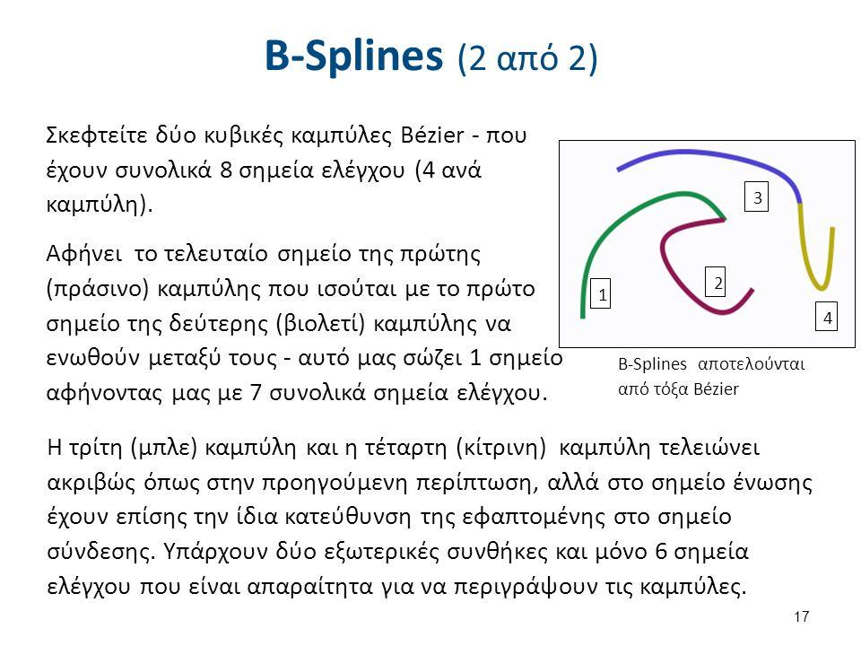 B-Splines (2 από 2) Σκεφτείτε δύο κυβικές καμπύλες Bézier - που έχουν συνολικά 8 σημεία ελέγχου (4 ανά καμπύλη).