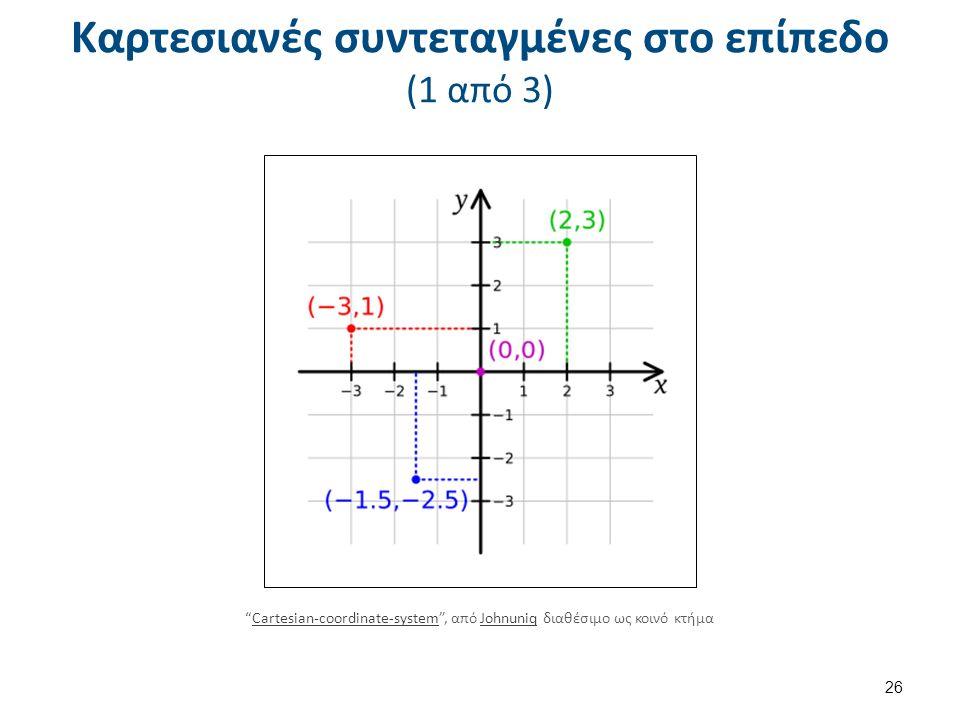 26 Καρτεσιανές συντεταγμένες στο επίπεδο (1 από 3) Cartesian-coordinate-system , από Johnuniq διαθέσιμο ως κοινό κτήμαCartesian-coordinate-systemJohnuniq