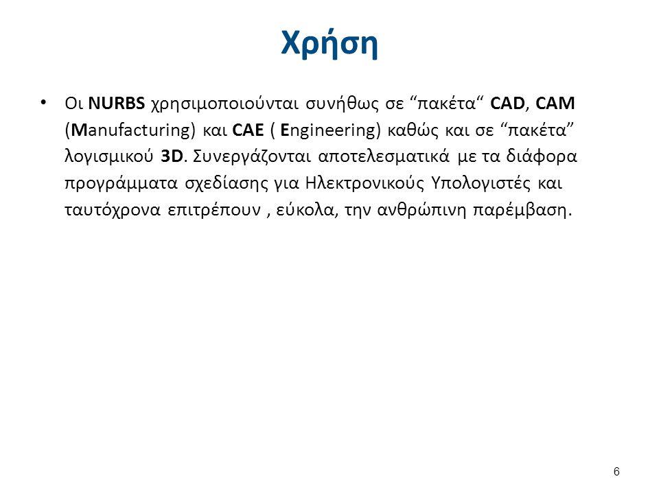 Οι NURBS χρησιμοποιούνται συνήθως σε πακέτα CAD, CAM (Manufacturing) και CAE ( Engineering) καθώς και σε πακέτα λογισμικού 3D.