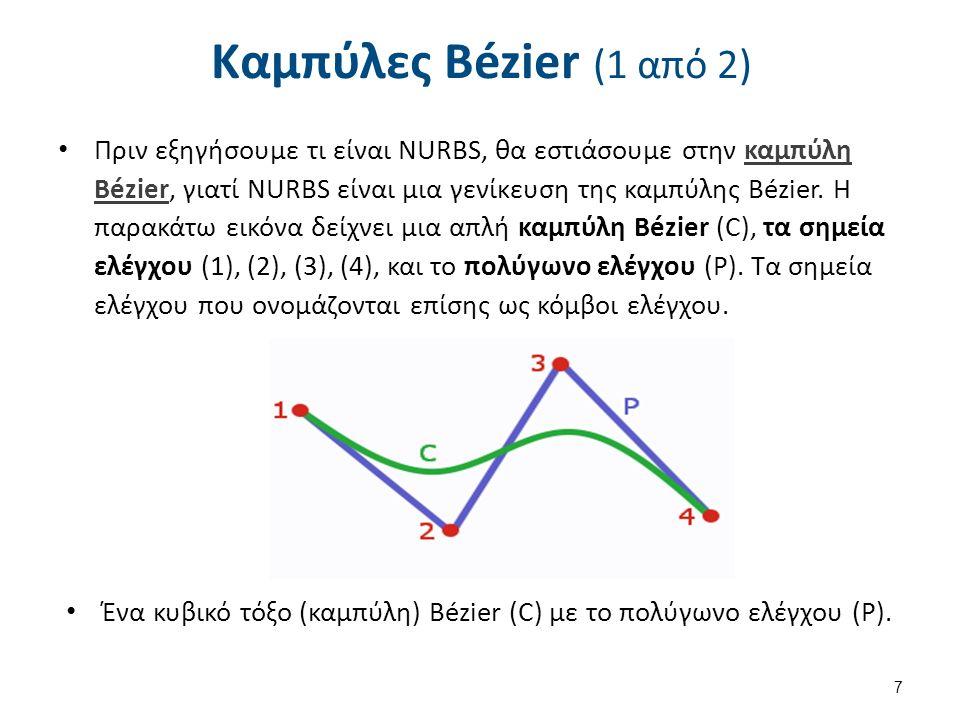 Πριν εξηγήσουμε τι είναι NURBS, θα εστιάσουμε στην καμπύλη Bézier, γιατί NURBS είναι μια γενίκευση της καμπύλης Bézier.