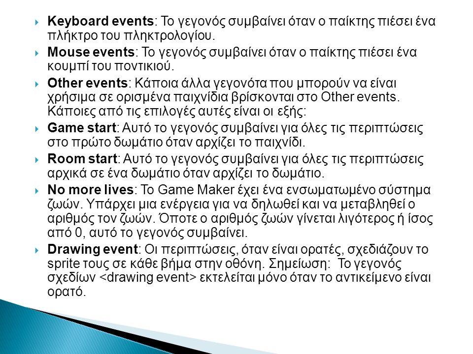  Keyboard events: Το γεγονός συμβαίνει όταν ο παίκτης πιέσει ένα πλήκτρο του πληκτρολογίου.  Mouse events: Το γεγονός συμβαίνει όταν ο παίκτης πιέσε