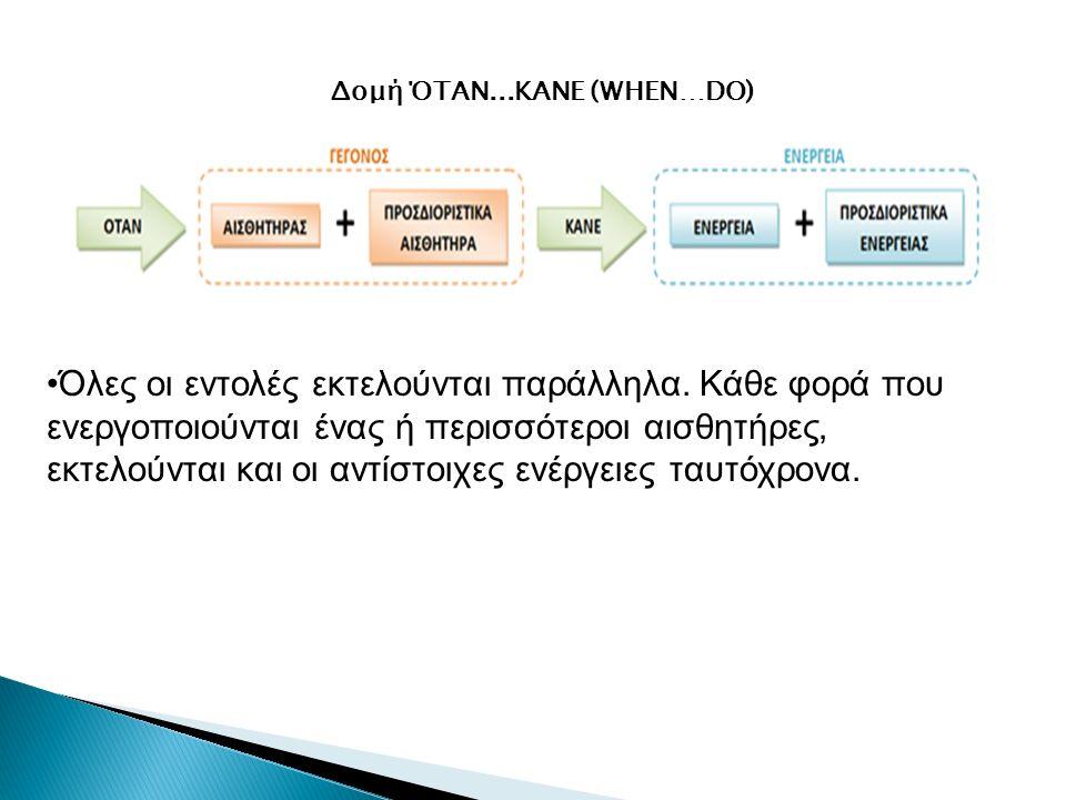 Δομή ΌΤΑΝ...ΚΑΝΕ (WHEN…DO) Όλες οι εντολές εκτελούνται παράλληλα. Κάθε φορά που ενεργοποιούνται ένας ή περισσότεροι αισθητήρες, εκτελούνται και οι αντ
