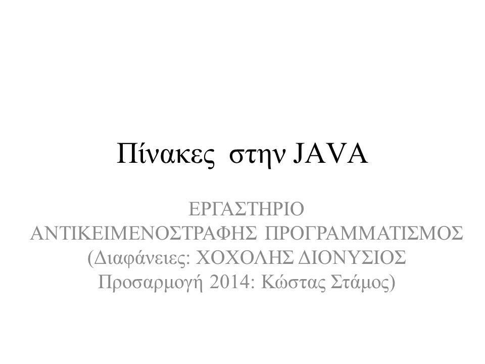 Δήλωση Μεταβλητής Πίνακα – [] variable_name; –int [] prime; –int prime[]; Και ο δύο τρόποι είναι ισοδύναμοι Καμμία δέσμευση στην μνήμη μέχρι στιγμής