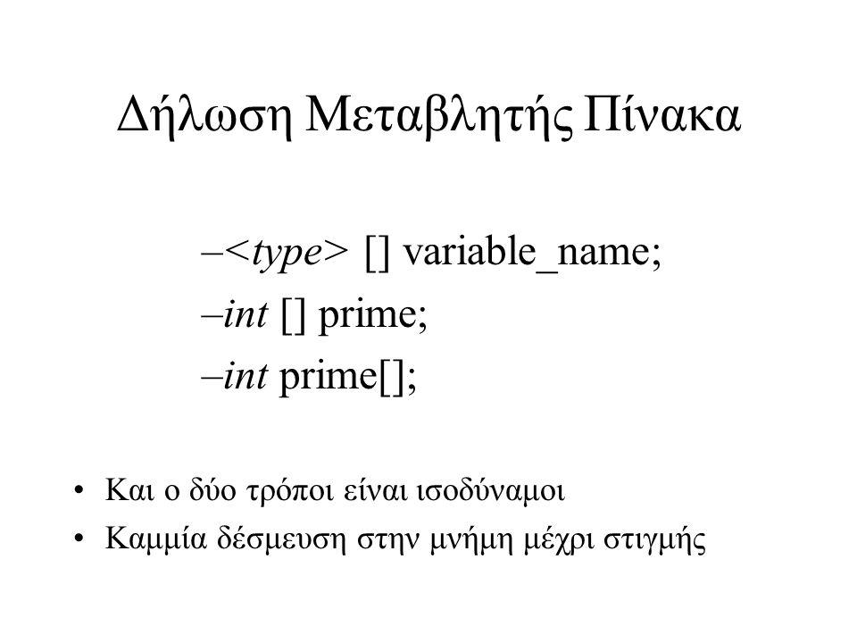 Ορισμός Μεγέθους Πίνακα Ορισμός Μεγέθους ενός πίνακα: –variable_name=new [N]; –primes=new int[10]; Δήλωση και ορισμός μεγέθους: –int[] primes=new int[10]; Μέγεθος σε bytes: –int : 4 bytes –Σύνολο: 4*10=40 bytes