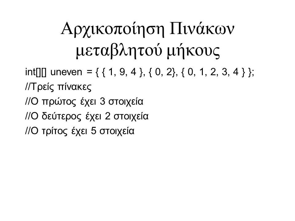 Αρχικοποίηση Πινάκων μεταβλητού μήκους int[][] uneven = { { 1, 9, 4 }, { 0, 2}, { 0, 1, 2, 3, 4 } }; //Τρείς πίνακες //Ο πρώτος έχει 3 στοιχεία //Ο δε