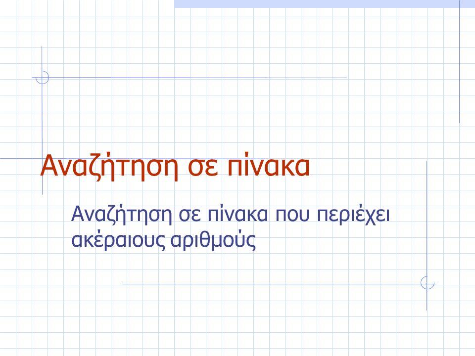 Αναζήτηση σε πίνακα Αναζήτηση σε πίνακα που περιέχει ακέραιους αριθμούς