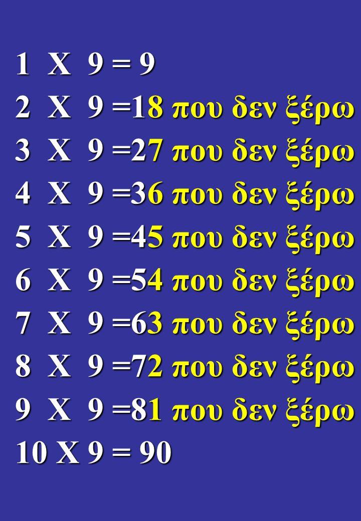 1 Χ 9 = 9 2 Χ 9 =18 που δεν ξέρω 3 Χ 9 =27 που δεν ξέρω 4 Χ 9 =36 που δεν ξέρω 5 Χ 9 =45 που δεν ξέρω 6 Χ 9 =54 που δεν ξέρω 7 Χ 9 =63 που δεν ξέρω 8 Χ 9 =72 που δεν ξέρω 9 Χ 9 =81 που δεν ξέρω 10 Χ 9 = 90