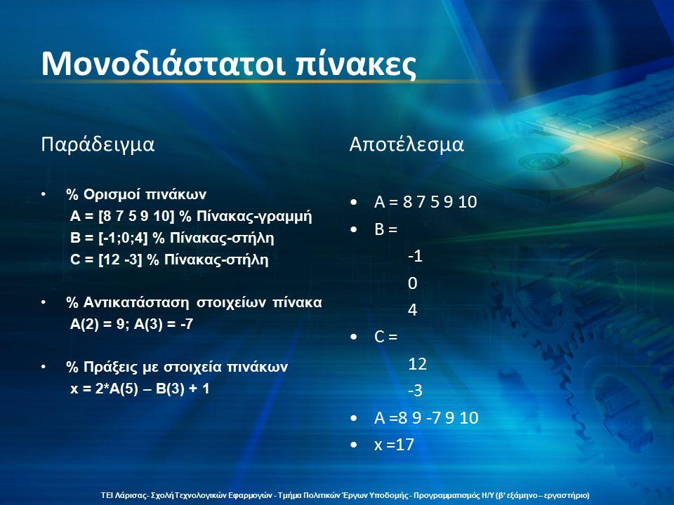 Δισδιάστατοι πίνακες Παράδειγμα % Ορισμός δισδιάστατου πίνακα A = [8 9 5 9 6 7 6 4 7 6] % Ορισμός μονοδιάστατου πίνακα- στήλης B = [0;0] Αποτέλεσμα A = 8 9 5 9 6 7 6 4 7 6 B = 0 0 ΤΕΙ Λάρισας- Σχολή Τεχνολογικών Εφαρμογών - Τμήμα Πολιτικών Έργων Υποδομής - Προγραμματισμός Η/Υ (β' εξάμηνο – εργαστήριο)