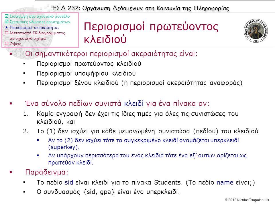 ΕΣΔ 232: Οργάνωση Δεδομένων στη Κοινωνία της Πληροφορίας © 2012 Nicolas Tsapatsoulis Περιορισμοί πρωτεύοντος κλειδιού  Οι σημαντικότεροι περιορισμοί