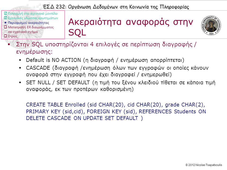 ΕΣΔ 232: Οργάνωση Δεδομένων στη Κοινωνία της Πληροφορίας © 2012 Nicolas Tsapatsoulis Ακεραιότητα αναφοράς στην SQL  Στην SQL υποστηρίζονται 4 επιλογέ