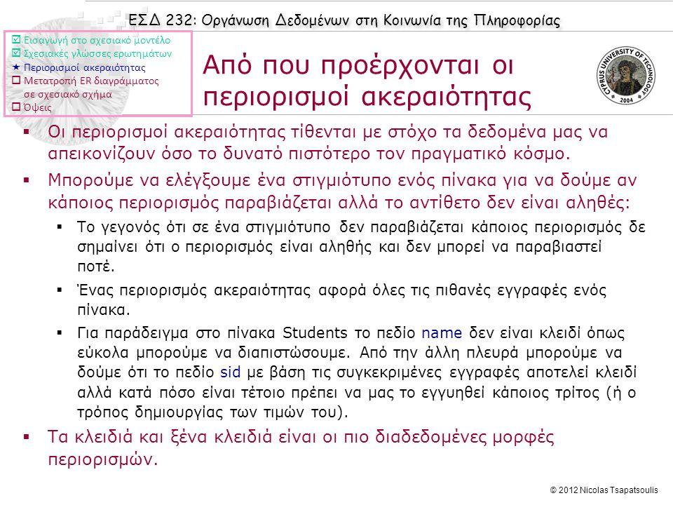 ΕΣΔ 232: Οργάνωση Δεδομένων στη Κοινωνία της Πληροφορίας © 2012 Nicolas Tsapatsoulis Από που προέρχονται οι περιορισμοί ακεραιότητας  Οι περιορισμοί