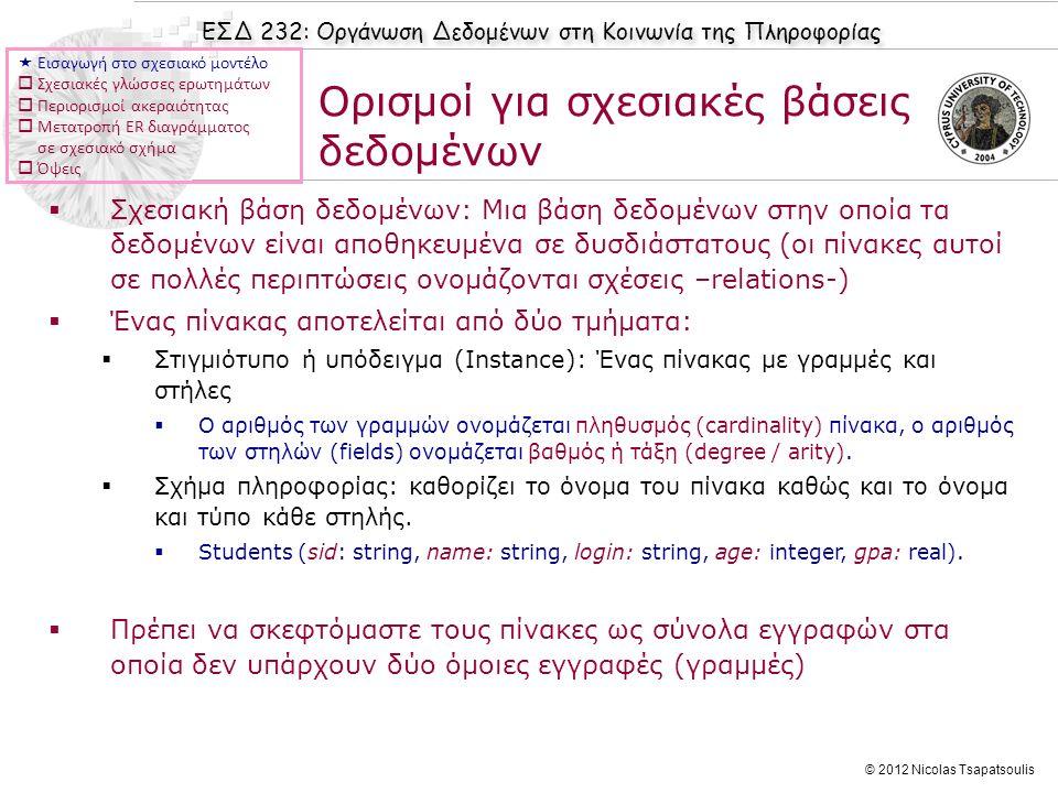 ΕΣΔ 232: Οργάνωση Δεδομένων στη Κοινωνία της Πληροφορίας © 2012 Nicolas Tsapatsoulis  Σχεσιακή βάση δεδομένων: Μια βάση δεδομένων στην οποία τα δεδομ