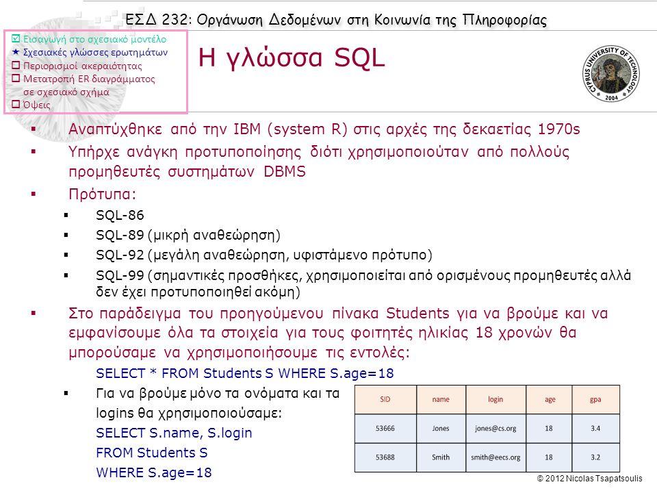 ΕΣΔ 232: Οργάνωση Δεδομένων στη Κοινωνία της Πληροφορίας © 2012 Nicolas Tsapatsoulis  Αναπτύχθηκε από την IBM (system R) στις αρχές της δεκαετίας 197