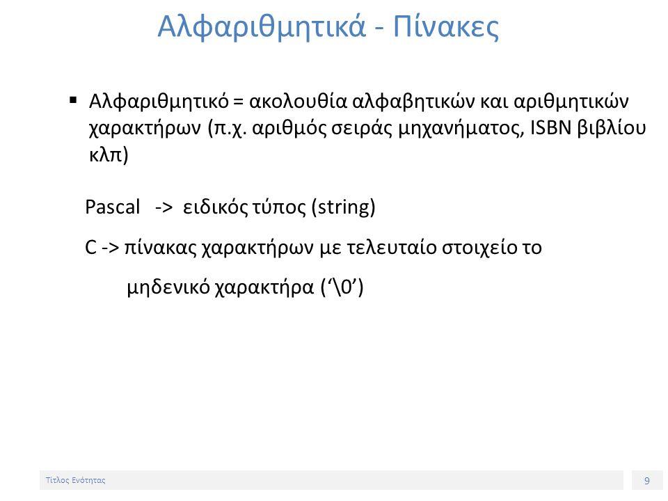 9 Τίτλος Ενότητας Αλφαριθμητικά - Πίνακες  Αλφαριθμητικό = ακολουθία αλφαβητικών και αριθμητικών χαρακτήρων (π.χ. αριθμός σειράς μηχανήματος, ISBN βι