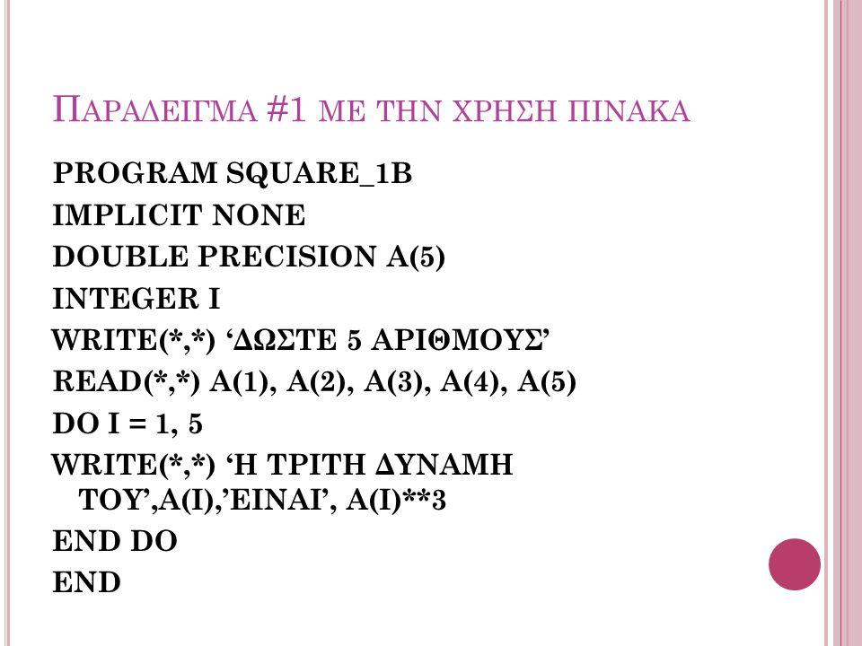 Π ΑΡΑΔΕΙΓΜΑ #1 ΜΕ ΤΗΝ ΧΡΗΣΗ ΠΙΝΑΚΑ PROGRAM SQUARE_1B IMPLICIT NONE DOUBLE PRECISION A(5) INTEGER I WRITE(*,*) 'ΔΩΣΤΕ 5 ΑΡΙΘΜΟΥΣ' READ(*,*) A(1), A(2), A(3), A(4), A(5) DO I = 1, 5 WRITE(*,*) 'Η ΤΡΙΤΗ ΔΥΝΑΜΗ ΤΟΥ',Α(I),'ΕΙΝΑΙ', Α(I)**3 END DO END