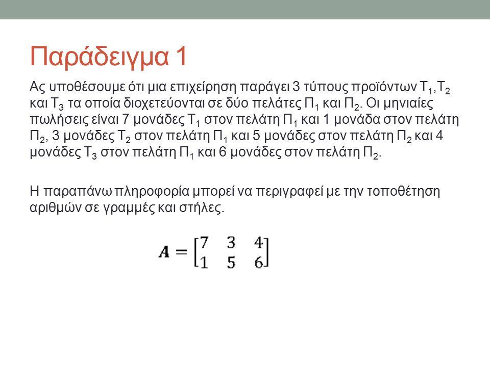Παράδειγμα 1 Ας υποθέσουμε ότι μια επιχείρηση παράγει 3 τύπους προϊόντων Τ 1,Τ 2 και Τ 3 τα οποία διοχετεύονται σε δύο πελάτες Π 1 και Π 2.