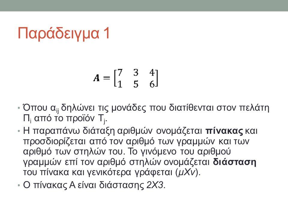 Παράδειγμα 2 Έστω οι πίνακες Να προσδιοριστούν τα στοιχεία b 11, b 21, c 12, c 34.