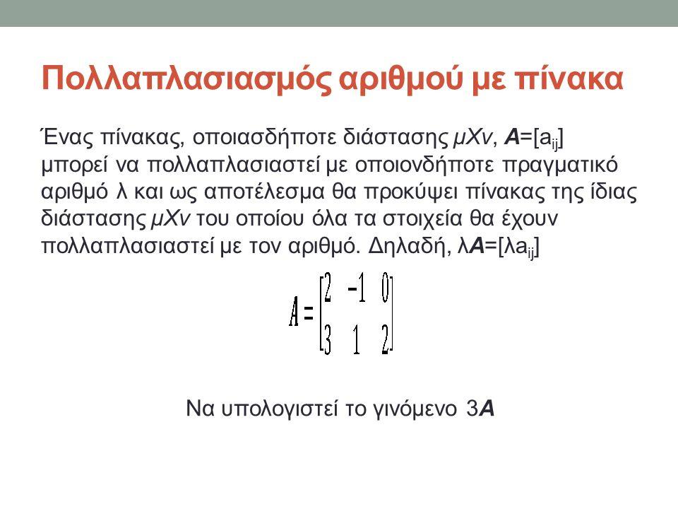 Πολλαπλασιασμός πινάκων Ας υποθέσουμε ότι τα προϊόντα Τ 1,Τ 2 και Τ 3 του αρχικού παραδείγματος πωλούνται αντί 50, 30 και 20 € ανά μονάδα.