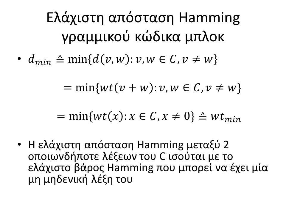 Ελάχιστη απόσταση Hamming γραμμικού κώδικα μπλοκ
