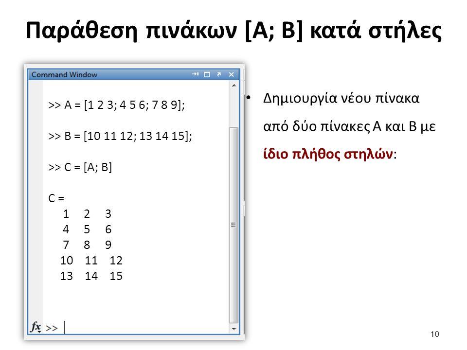Παράθεση πινάκων [Α; Β] κατά στήλες Δημιουργία νέου πίνακα από δύο πίνακες Α και Β με ίδιο πλήθος στηλών: >> Α = [1 2 3; 4 5 6; 7 8 9]; >> B = [10 11