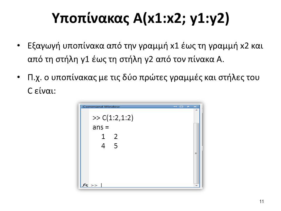 Υποπίνακας Α(x1:x2; y1:y2) Εξαγωγή υποπίνακα από την γραμμή x1 έως τη γραμμή x2 και από τη στήλη y1 έως τη στήλη y2 από τον πίνακα Α. Π.χ. ο υποπίνακα