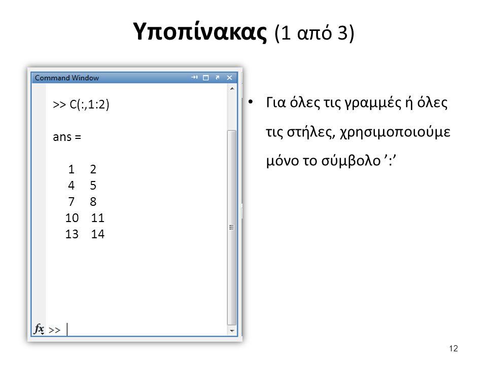Υποπίνακας (1 από 3) Για όλες τις γραμμές ή όλες τις στήλες, χρησιμοποιούμε μόνο το σύμβολο ':' >> C(:,1:2) ans = 1 2 4 5 7 8 10 11 13 14 12