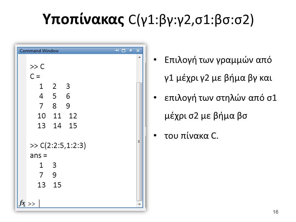 Υποπίνακας C(γ1:βγ:γ2,σ1:βσ:σ2) Επιλογή των γραμμών από γ1 μέχρι γ2 με βήμα βγ και επιλογή των στηλών από σ1 μέχρι σ2 με βήμα βσ του πίνακα C. >> C C