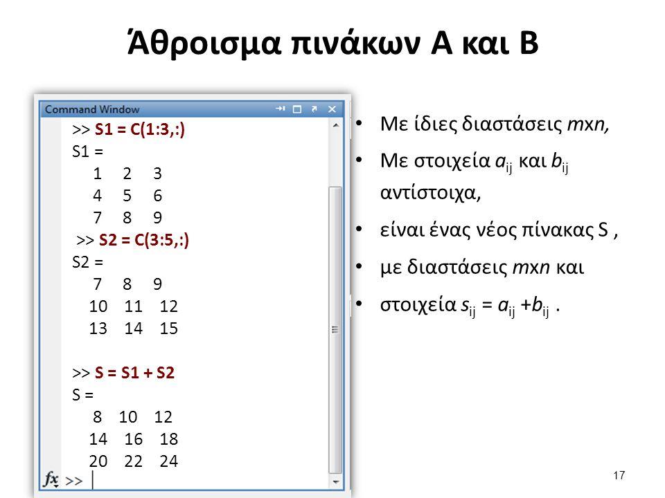 Άθροισμα πινάκων Α και Β Με ίδιες διαστάσεις mxn, Με στοιχεία a ij και b ij αντίστοιχα, είναι ένας νέος πίνακας S, με διαστάσεις mxn και στοιχεία s ij