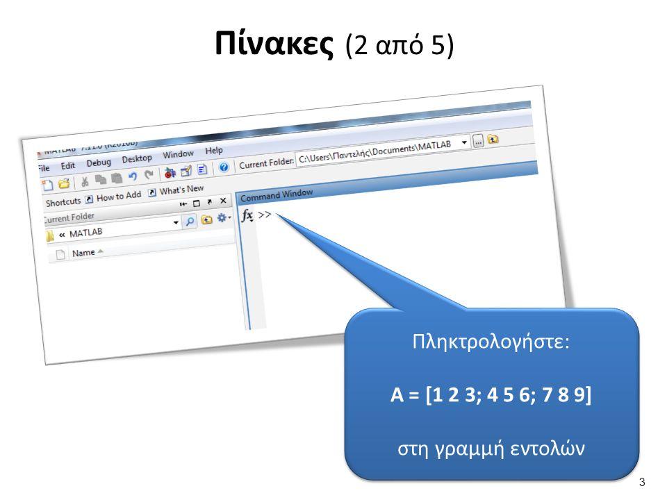 Πίνακες (2 από 5) Πληκτρολογήστε: Α = [1 2 3; 4 5 6; 7 8 9] στη γραμμή εντολών Πληκτρολογήστε: Α = [1 2 3; 4 5 6; 7 8 9] στη γραμμή εντολών 3