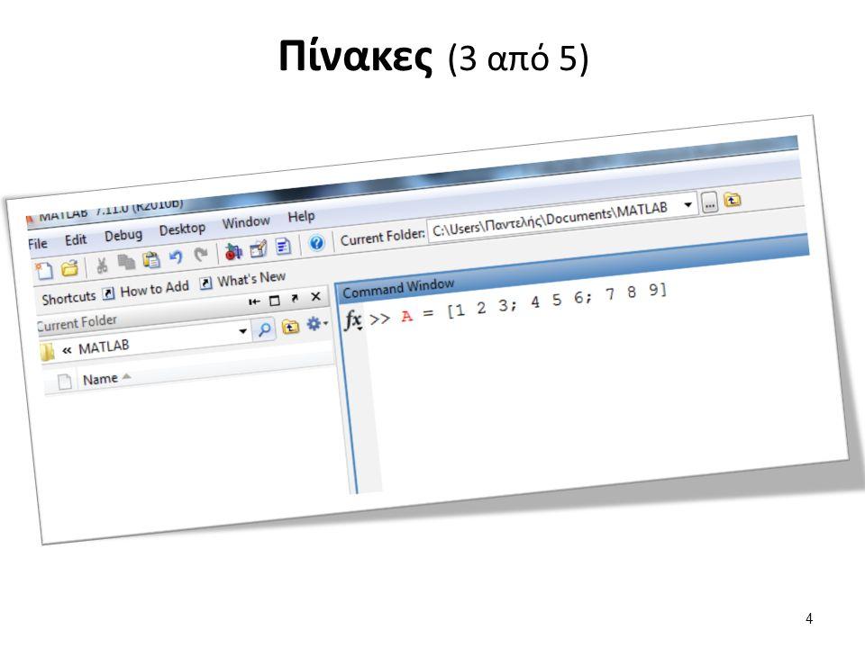Υποπίνακας C(:,:) Όλες τις γραμμές και όλες τις στήλες του πίνακα C.