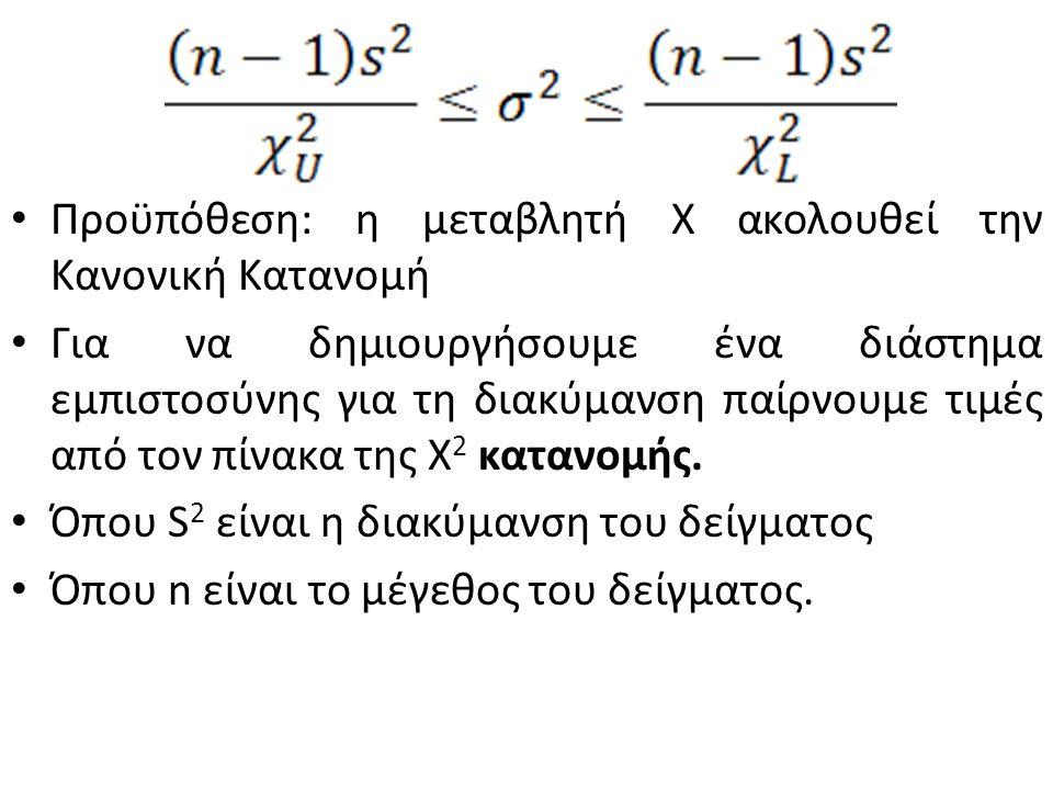 Προϋπόθεση: η μεταβλητή Χ ακολουθεί την Κανονική Κατανομή Για να δημιουργήσουμε ένα διάστημα εμπιστοσύνης για τη διακύμανση παίρνουμε τιμές από τον πίνακα της X 2 κατανομής.