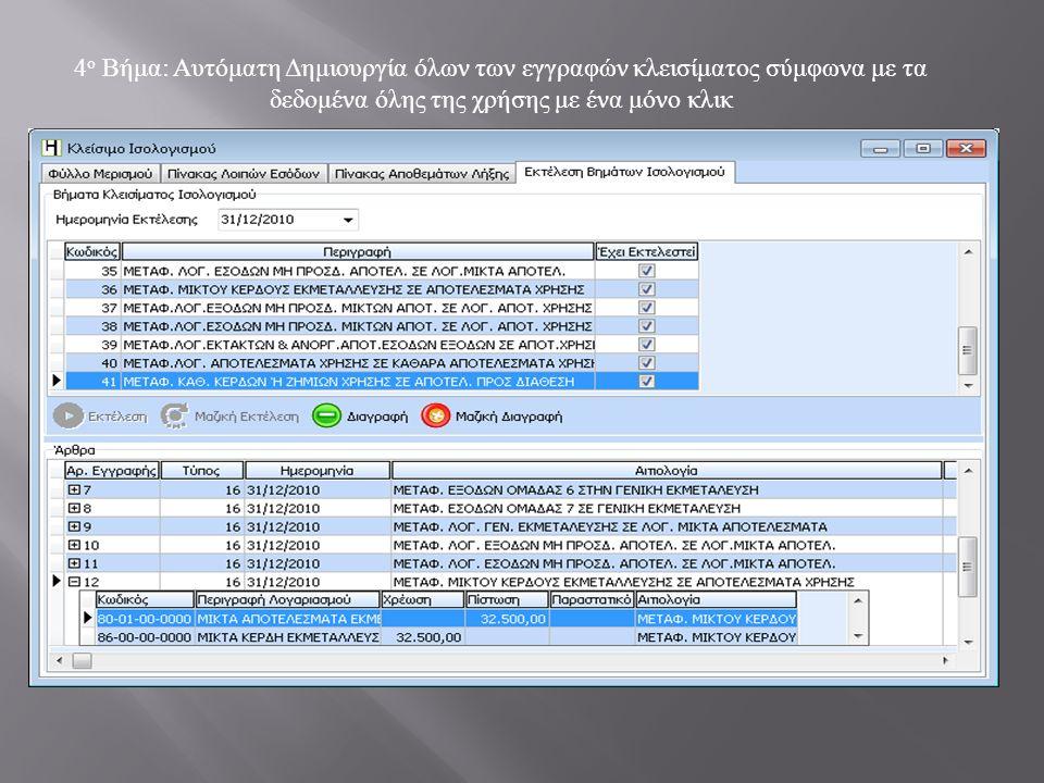 4 ο Βήμα: Αυτόματη Δημιουργία όλων των εγγραφών κλεισίματος σύμφωνα με τα δεδομένα όλης της χρήσης με ένα μόνο κλικ
