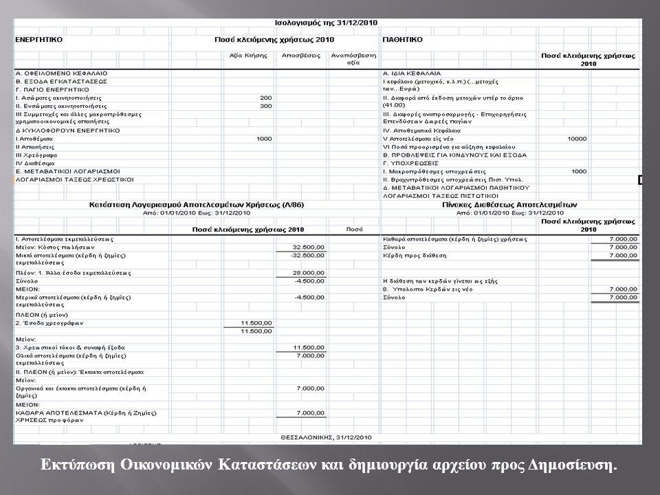 Εκτύπωση Οικονομικών Καταστάσεων και δημιουργία αρχείου προς Δημοσίευση.