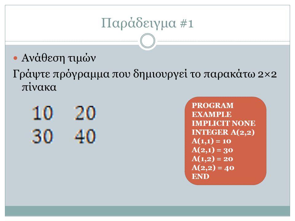 Παράδειγμα #1 Ανάθεση τιμών Γράψτε πρόγραμμα που δημιουργεί το παρακάτω 2×2 πίνακα PROGRAM EXAMPLE IMPLICIT NONE INTEGER Α(2,2) Α(1,1) = 10 Α(2,1) = 30 Α(1,2) = 20 Α(2,2) = 40 END