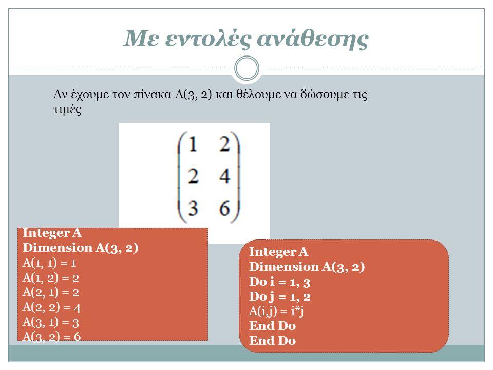Με εντολές ανάθεσης Αν έχουμε τον πίνακα Α(3, 2) και θέλουμε να δώσουμε τις τιμές Integer A Dimension A(3, 2) Α(1, 1) = 1 Α(1, 2) = 2 Α(2, 1) = 2 Α(2, 2) = 4 Α(3, 1) = 3 Α(3, 2) = 6 Integer A Dimension A(3, 2) Do i = 1, 3 Do j = 1, 2 Α(i,j) = i*j End Do