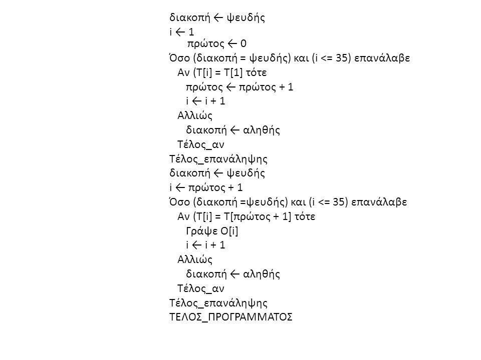 διακοπή ← ψευδής i ← 1 πρώτος ← 0 Όσο (διακοπή = ψευδής) και (i <= 35) επανάλαβε Αν (Τ[i] = Τ[1] τότε πρώτος ← πρώτος + 1 i ← i + 1 Αλλιώς διακοπή ← αληθής Τέλος_αν Τέλος_επανάληψης διακοπή ← ψευδής i ← πρώτος + 1 Όσο (διακοπή =ψευδής) και (i <= 35) επανάλαβε Αν (Τ[i] = Τ[πρώτος + 1] τότε Γράψε Ο[i] i ← i + 1 Αλλιώς διακοπή ← αληθής Τέλος_αν Τέλος_επανάληψης ΤΕΛΟΣ_ΠΡΟΓΡΑΜΜΑΤΟΣ