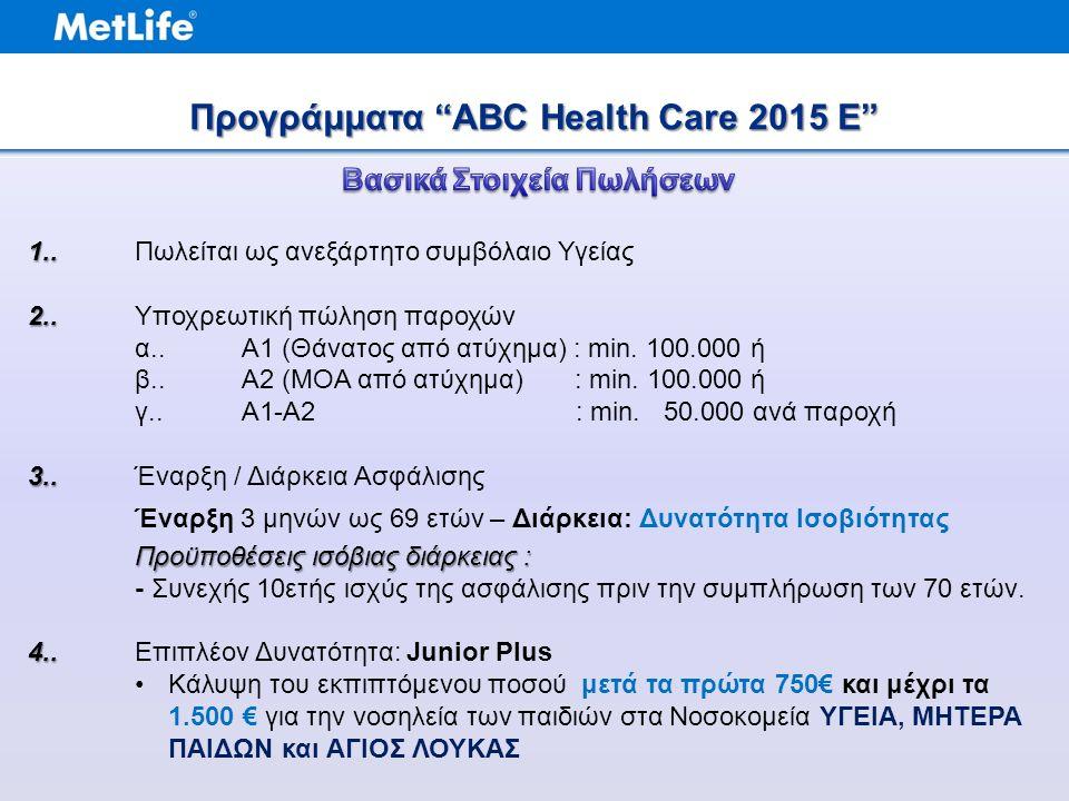 Προγράμματα ABC Health Care 2015 E 1.. 1..Πωλείται ως ανεξάρτητο συμβόλαιο Υγείας 2..