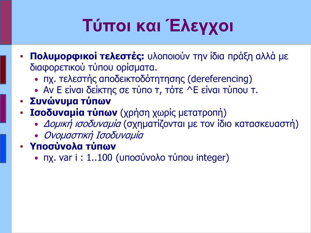 Τύποι και Έλεγχοι ▪Πολυμορφικοί τελεστές: υλοποιούν την ίδια πράξη αλλά με διαφορετικού τύπου ορίσματα.