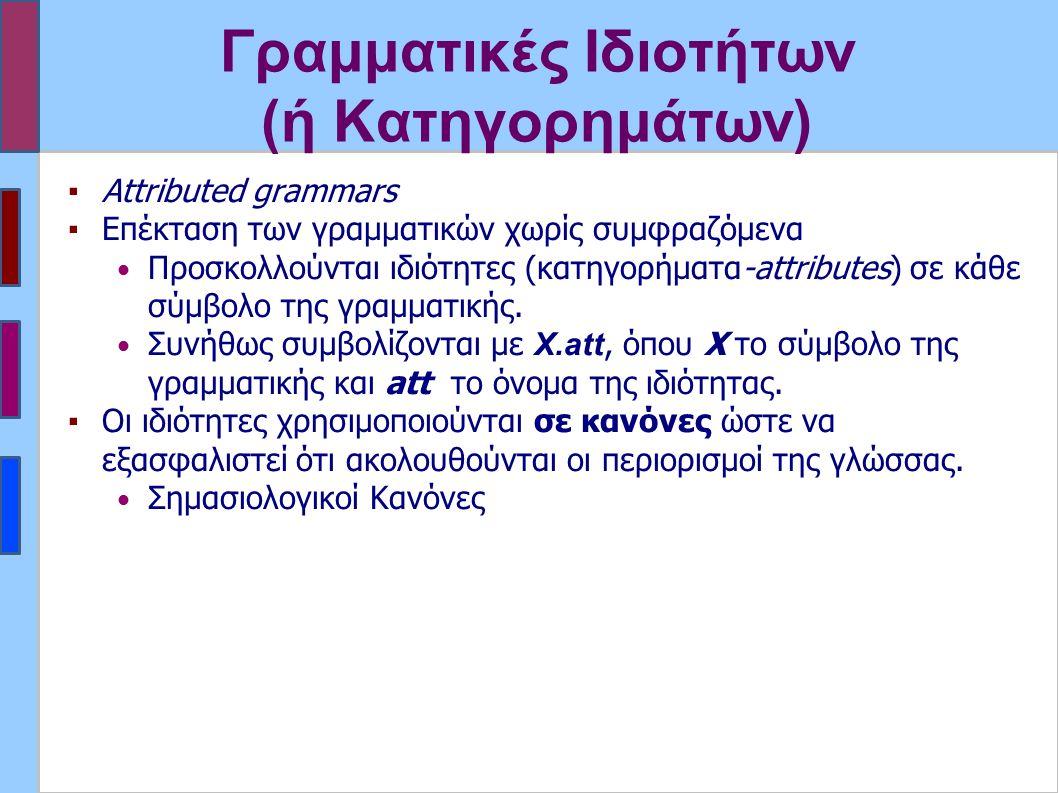 Γραμματικές Ιδιοτήτων (ή Κατηγορημάτων) ▪Attributed grammars ▪Επέκταση των γραμματικών χωρίς συμφραζόμενα Προσκολλούνται ιδιότητες (κατηγορήματα-attributes) σε κάθε σύμβολο της γραμματικής.