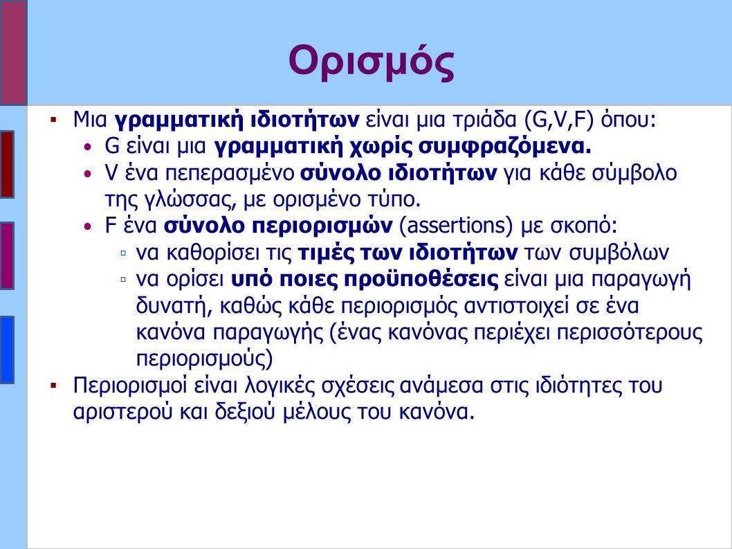 Ορισμός ▪Μια γραμματική ιδιοτήτων είναι μια τριάδα (G,V,F) όπου: G είναι μια γραμματική χωρίς συμφραζόμενα.